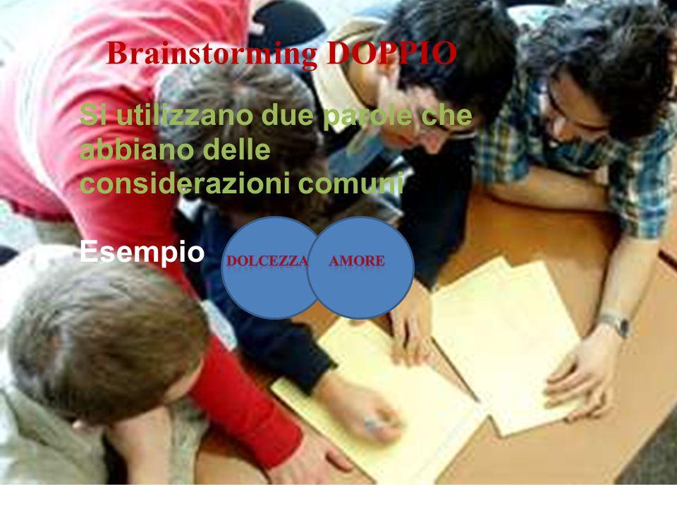 Brainstorming DOPPIO Si utilizzano due parole che abbiano delle considerazioni comuni Esempio