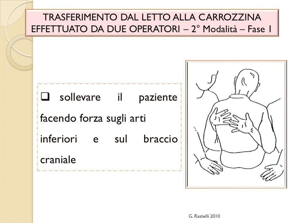 G. Rastelli 2010 TRASFERIMENTO DAL LETTO ALLA CARROZZINA EFFETTUATO DA DUE OPERATORI – 2° Modalità – Fase 1 sollevare il paziente facendo forza sugli