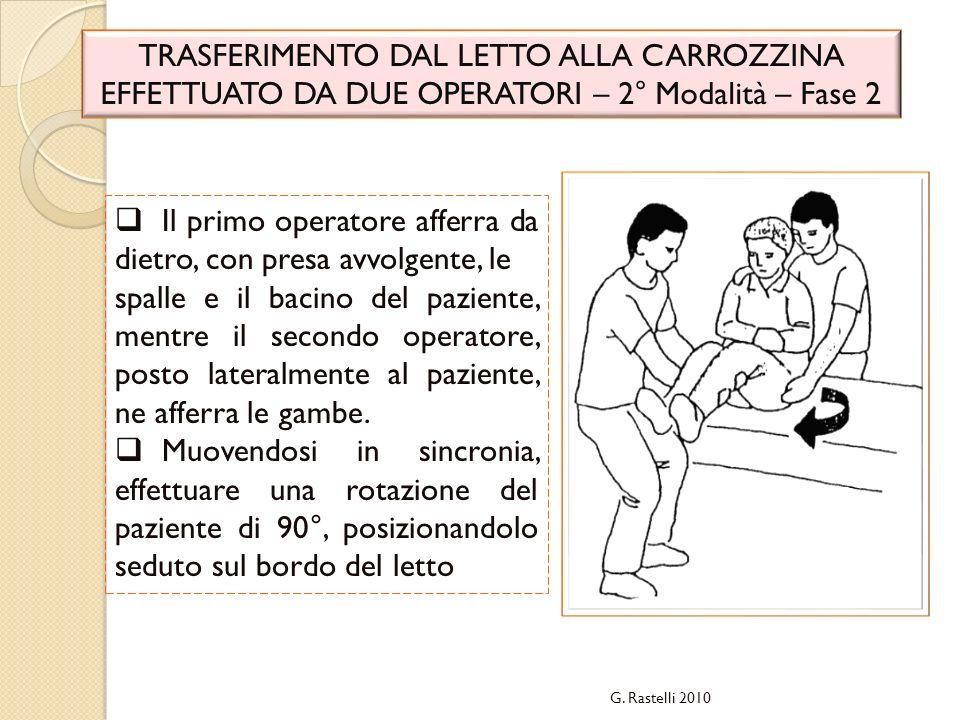 G. Rastelli 2010 TRASFERIMENTO DAL LETTO ALLA CARROZZINA EFFETTUATO DA DUE OPERATORI – 2° Modalità – Fase 2 Il primo operatore afferra da dietro, con