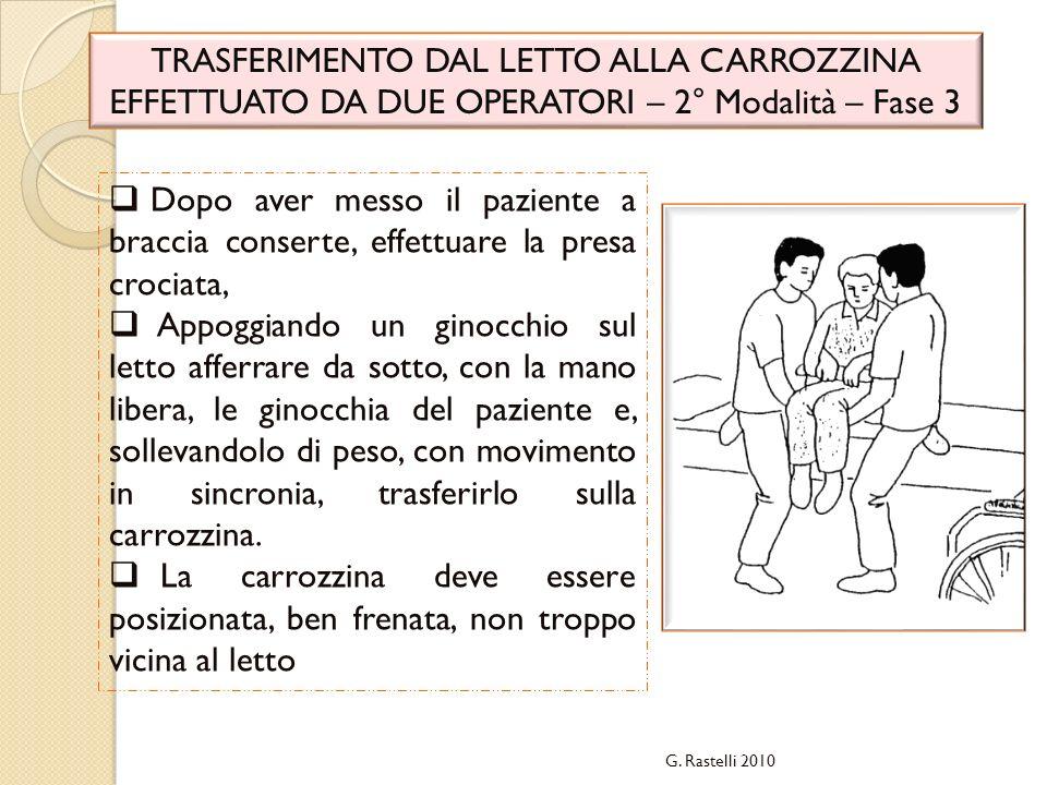G. Rastelli 2010 TRASFERIMENTO DAL LETTO ALLA CARROZZINA EFFETTUATO DA DUE OPERATORI – 2° Modalità – Fase 3 Dopo aver messo il paziente a braccia cons