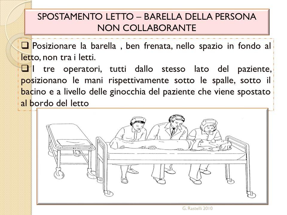 G. Rastelli 2010 SPOSTAMENTO LETTO – BARELLA DELLA PERSONA NON COLLABORANTE Posizionare la barella, ben frenata, nello spazio in fondo al letto, non t