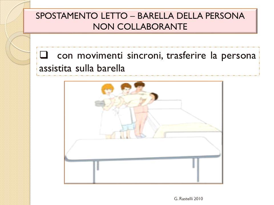 G. Rastelli 2010 SPOSTAMENTO LETTO – BARELLA DELLA PERSONA NON COLLABORANTE con movimenti sincroni, trasferire la persona assistita sulla barella