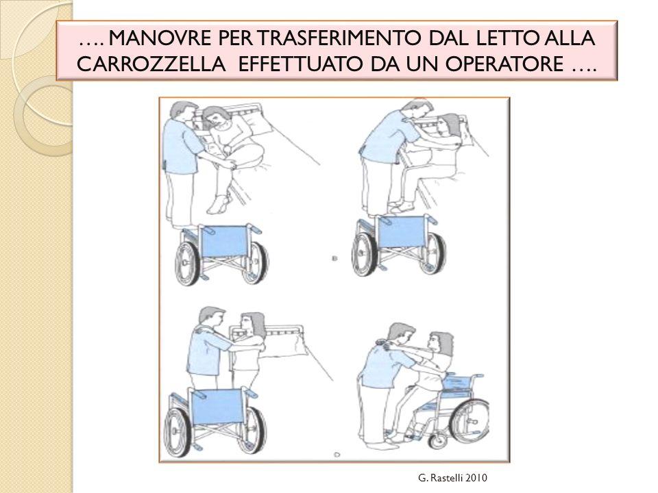 …. MANOVRE PER TRASFERIMENTO DAL LETTO ALLA CARROZZELLA EFFETTUATO DA UN OPERATORE …. G. Rastelli 2010