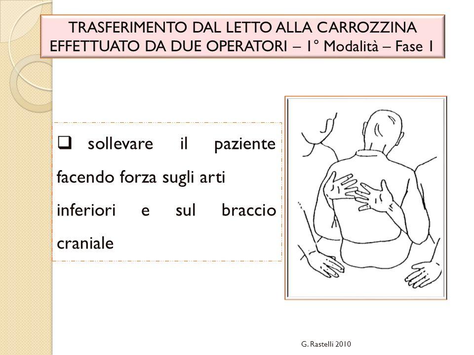 G. Rastelli 2010 TRASFERIMENTO DAL LETTO ALLA CARROZZINA EFFETTUATO DA DUE OPERATORI – 1° Modalità – Fase 1 sollevare il paziente facendo forza sugli
