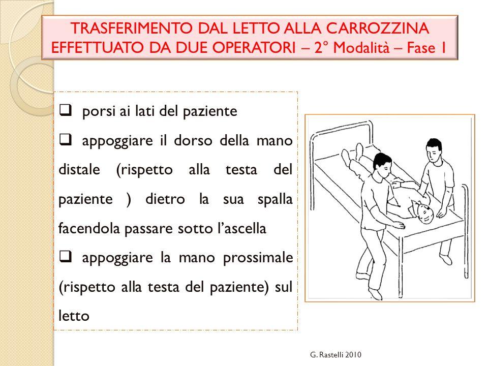 G. Rastelli 2010 TRASFERIMENTO DAL LETTO ALLA CARROZZINA EFFETTUATO DA DUE OPERATORI – 2° Modalità – Fase 1 porsi ai lati del paziente appoggiare il d