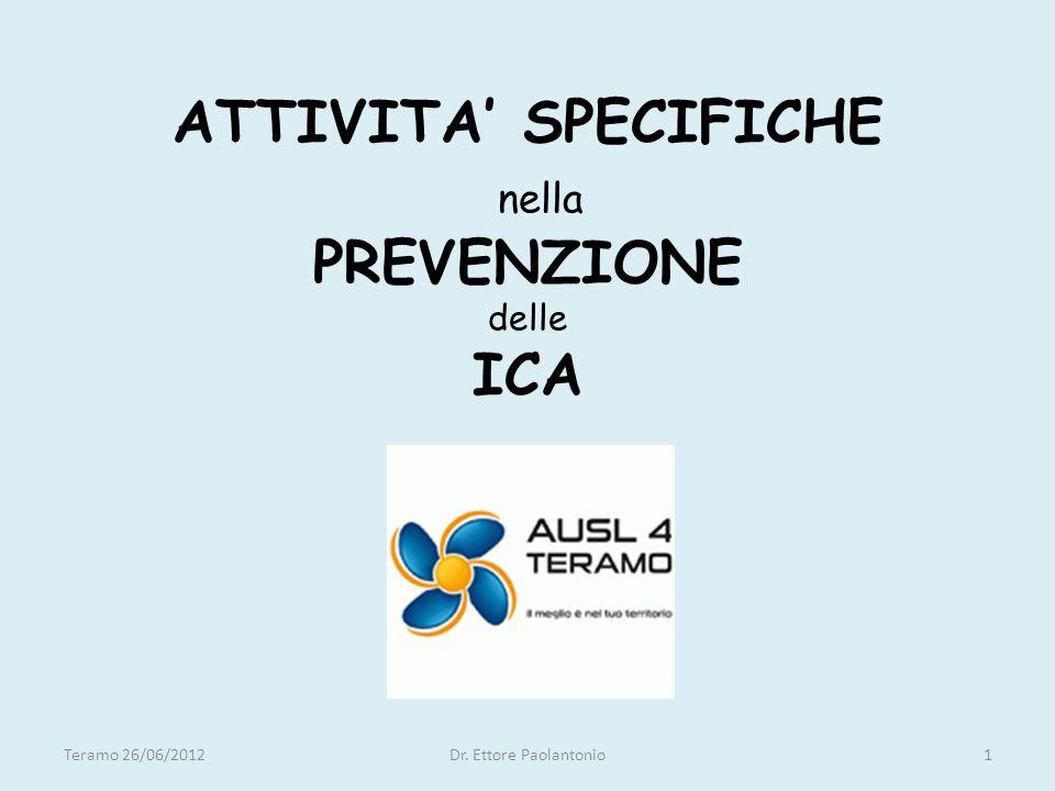 ATTIVITA SPECIFICHE nella PREVENZIONE delle ICA Teramo 26/06/20121Dr. Ettore Paolantonio