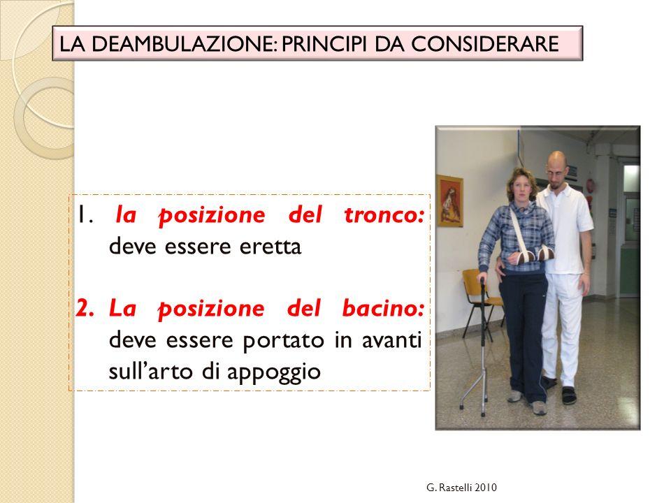 G. Rastelli 2010 LA DEAMBULAZIONE: PRINCIPI DA CONSIDERARE 1. la posizione del tronco: deve essere eretta 2.La posizione del bacino: deve essere porta