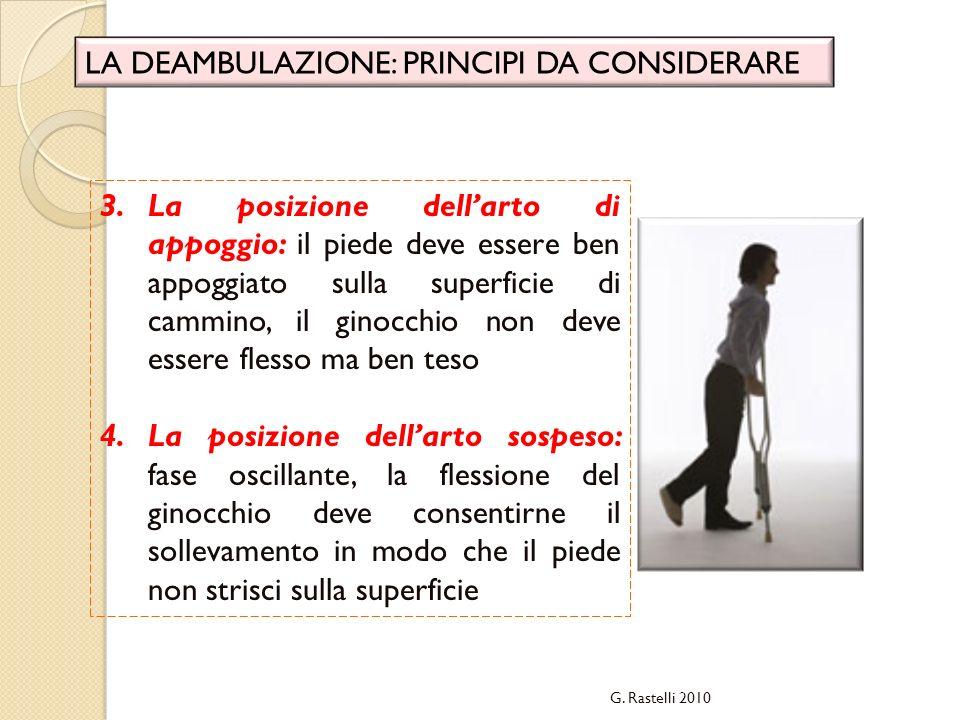 G. Rastelli 2010 LA DEAMBULAZIONE: PRINCIPI DA CONSIDERARE 3.La posizione dellarto di appoggio: il piede deve essere ben appoggiato sulla superficie d