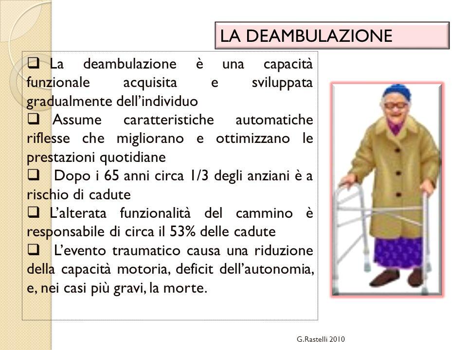 G.Rastelli 2010 LA DEAMBULAZIONE La deambulazione è una capacità funzionale acquisita e sviluppata gradualmente dellindividuo Assume caratteristiche a