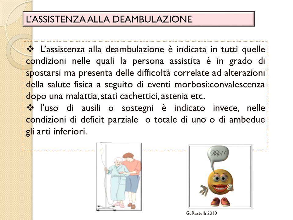 G. Rastelli 2010 LASSISTENZA ALLA DEAMBULAZIONE Lassistenza alla deambulazione è indicata in tutti quelle condizioni nelle quali la persona assistita