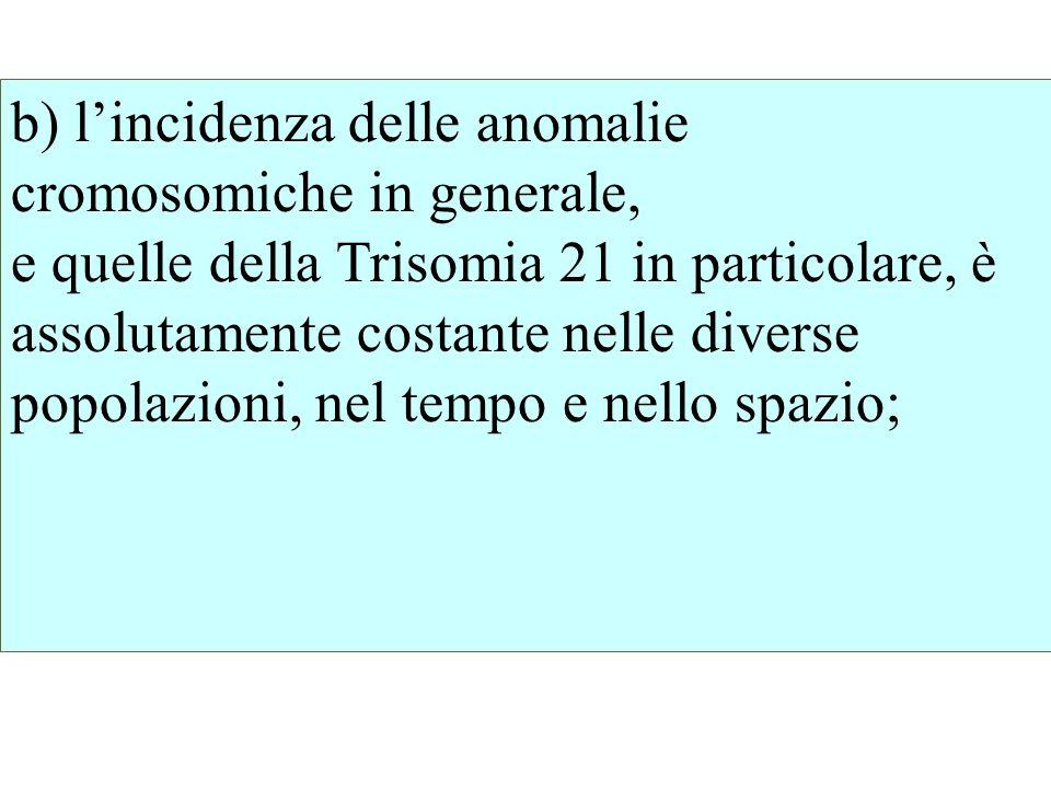 b) lincidenza delle anomalie cromosomiche in generale, e quelle della Trisomia 21 in particolare, è assolutamente costante nelle diverse popolazioni,