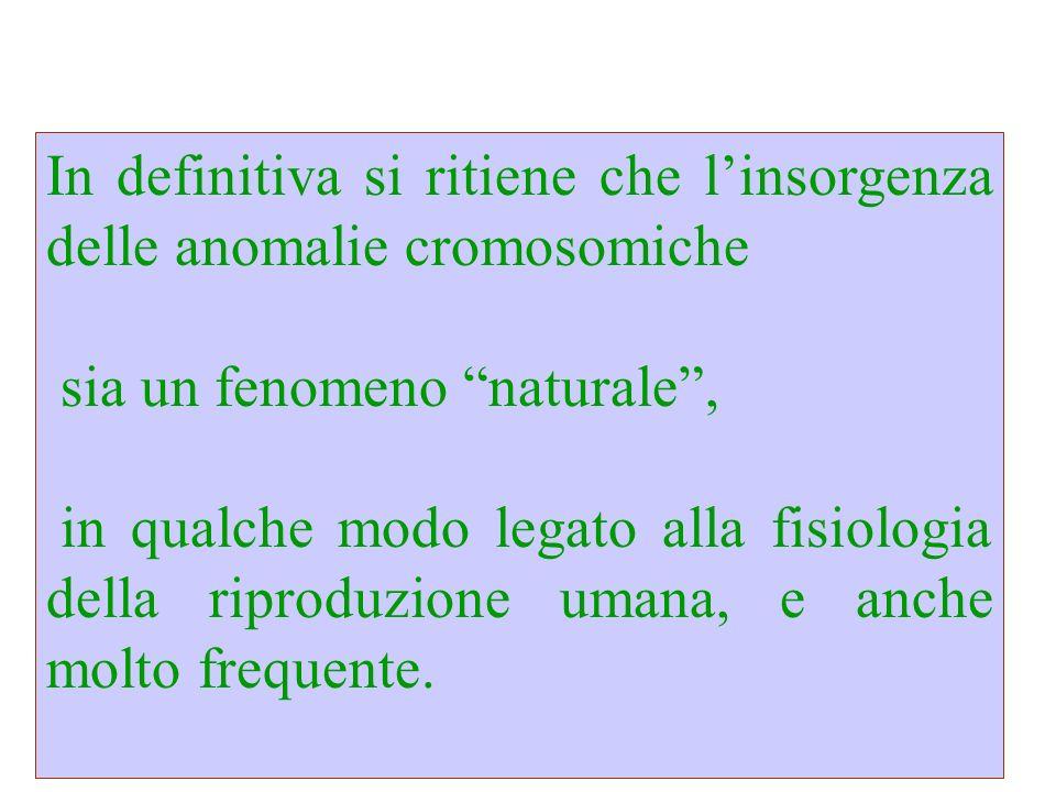 In definitiva si ritiene che linsorgenza delle anomalie cromosomiche sia un fenomeno naturale, in qualche modo legato alla fisiologia della riproduzio