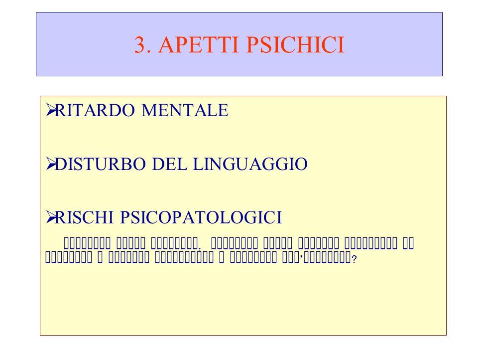 3. APETTI PSICHICI RITARDO MENTALE DISTURBO DEL LINGUAGGIO RISCHI PSICOPATOLOGICI DISTURBI DELLA CONDOTTA, DISTURBI DELLO SPETTRO AUTISTICO IN RAPPORT