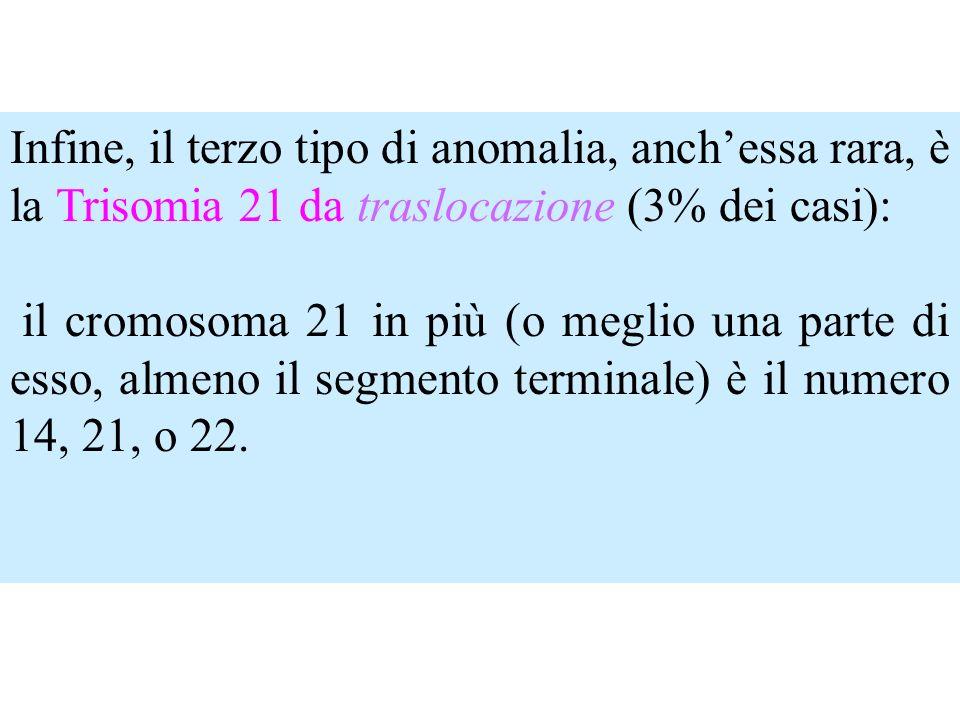 Infine, il terzo tipo di anomalia, anchessa rara, è la Trisomia 21 da traslocazione (3% dei casi): il cromosoma 21 in più (o meglio una parte di esso,