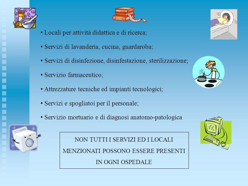 Locali per attività didattica e di ricerca; Servizi di lavanderia, cucina, guardaroba; Servizi di disinfezione, disinfestazione, sterilizzazione; Serv