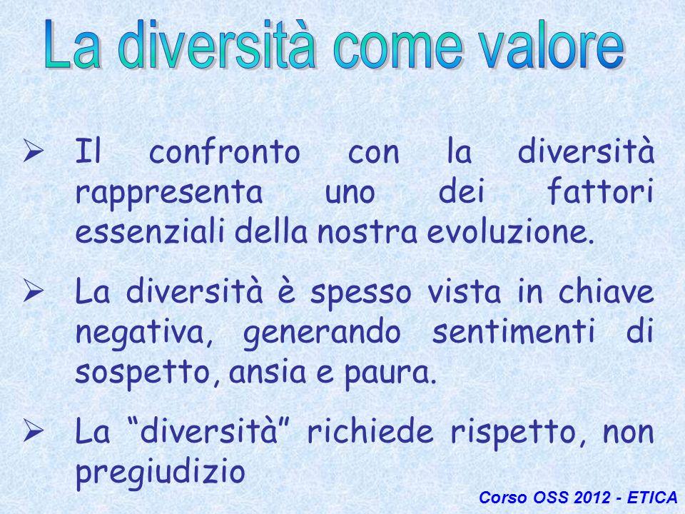 Il confronto con la diversità rappresenta uno dei fattori essenziali della nostra evoluzione. La diversità è spesso vista in chiave negativa, generand