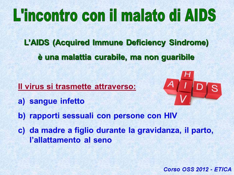 LAIDS (Acquired Immune Deficiency Sindrome) è una malattia curabile, ma non guaribile Il virus si trasmette attraverso: a)sangue infetto b)rapporti se