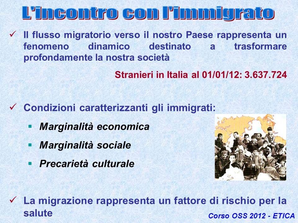 Il flusso migratorio verso il nostro Paese rappresenta un fenomeno dinamico destinato a trasformare profondamente la nostra società Stranieri in Itali