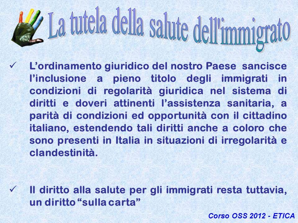 Lordinamento giuridico del nostro Paese sancisce linclusione a pieno titolo degli immigrati in condizioni di regolarità giuridica nel sistema di dirit