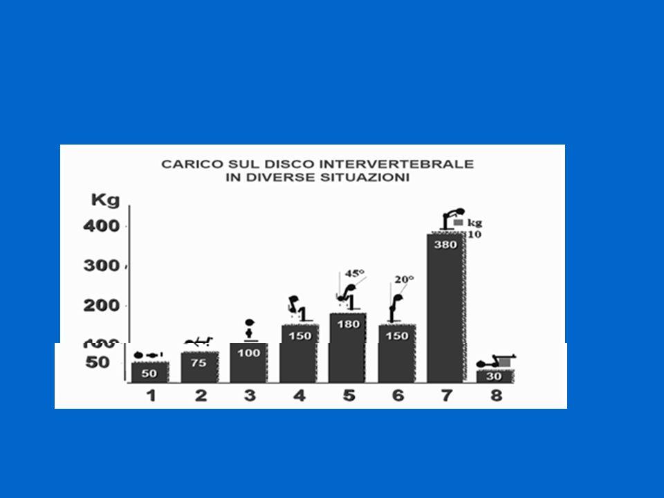 Sollevamento da seduto a stazione eretta (73 kg di peso) Fino a 641 kg (ma oltre 1000 kg per pz di peso 95 kg) Spostamento nel letto (peso 52 kg) Superiore a 350 kg Trasferimento letto carrozzina Fino a 448 kg IN AMBIENTE OSPEDALIERO IL CARICO DISCALE PUO ESSERE:
