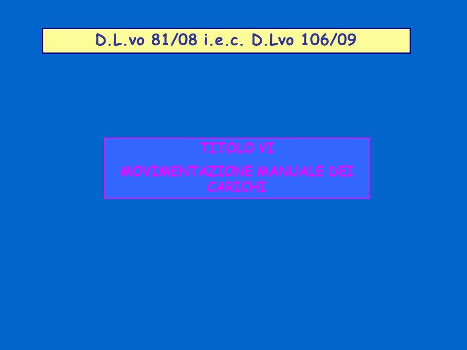 D.L.vo 81/08 i.e.c. D.Lvo 106/09 TITOLO VI MOVIMENTAZIONE MANUALE DEI CARICHI