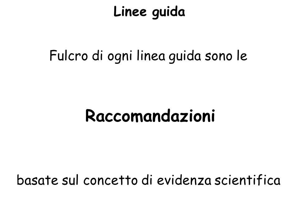 Linee guida Fulcro di ogni linea guida sono le Raccomandazioni basate sul concetto di evidenza scientifica