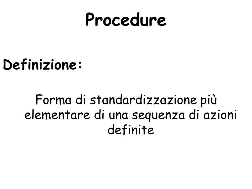 Procedure Definizione: Forma di standardizzazione più elementare di una sequenza di azioni definite