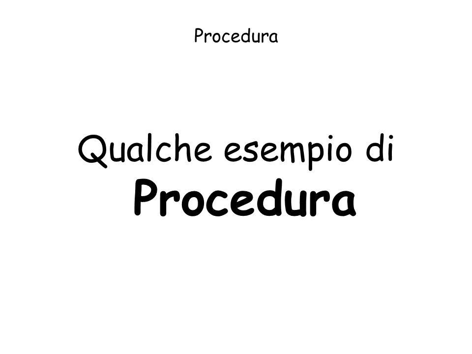 Procedura Qualche esempio di Procedura