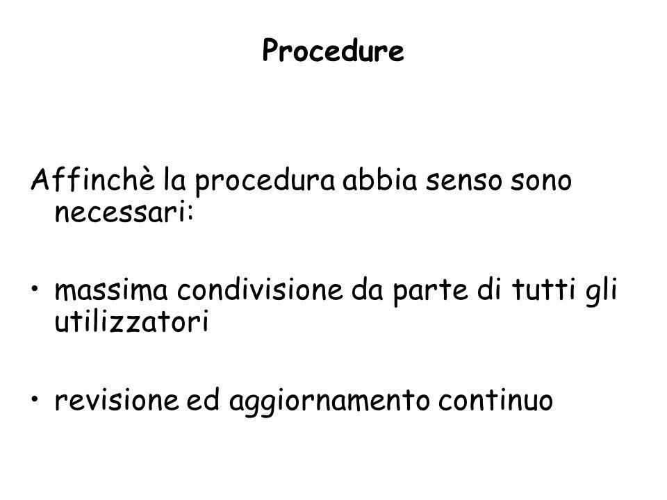 Procedure Affinchè la procedura abbia senso sono necessari: massima condivisione da parte di tutti gli utilizzatori revisione ed aggiornamento continu