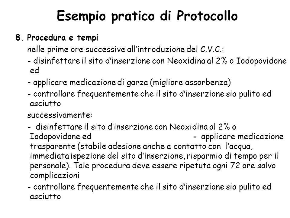 Esempio pratico di Protocollo 8. Procedura e tempi nelle prime ore successive allintroduzione del C.V.C.: - disinfettare il sito dinserzione con Neoxi
