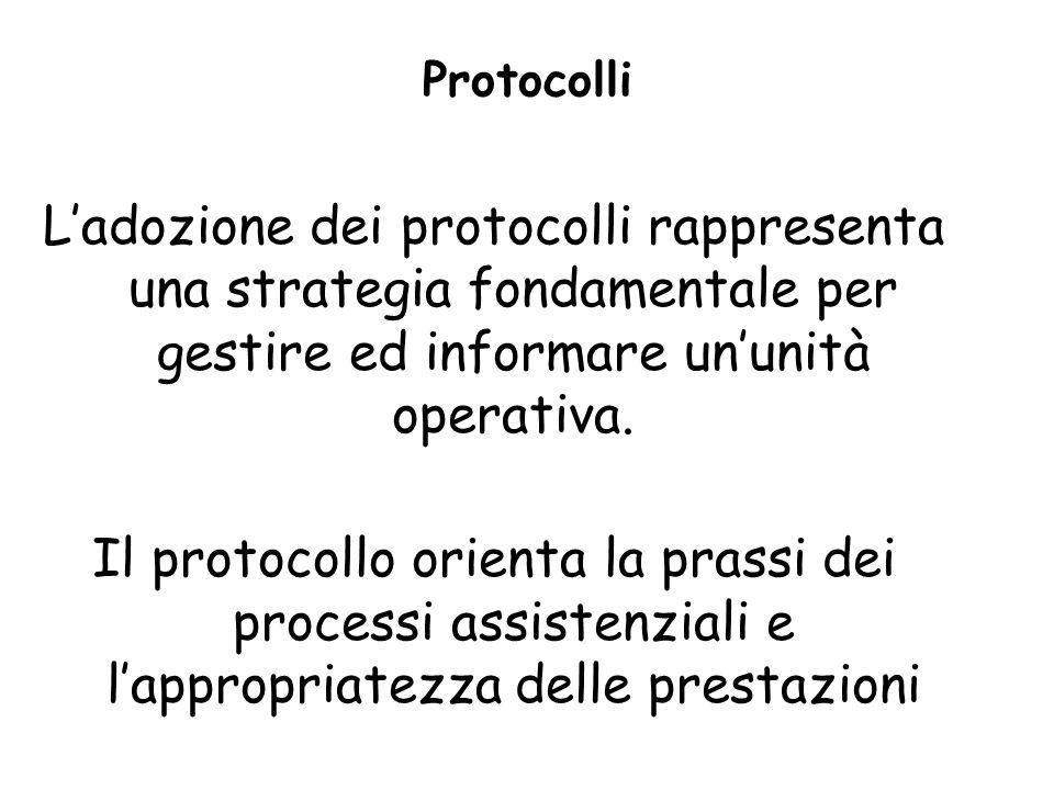 Protocolli Ladozione dei protocolli rappresenta una strategia fondamentale per gestire ed informare ununità operativa. Il protocollo orienta la prassi