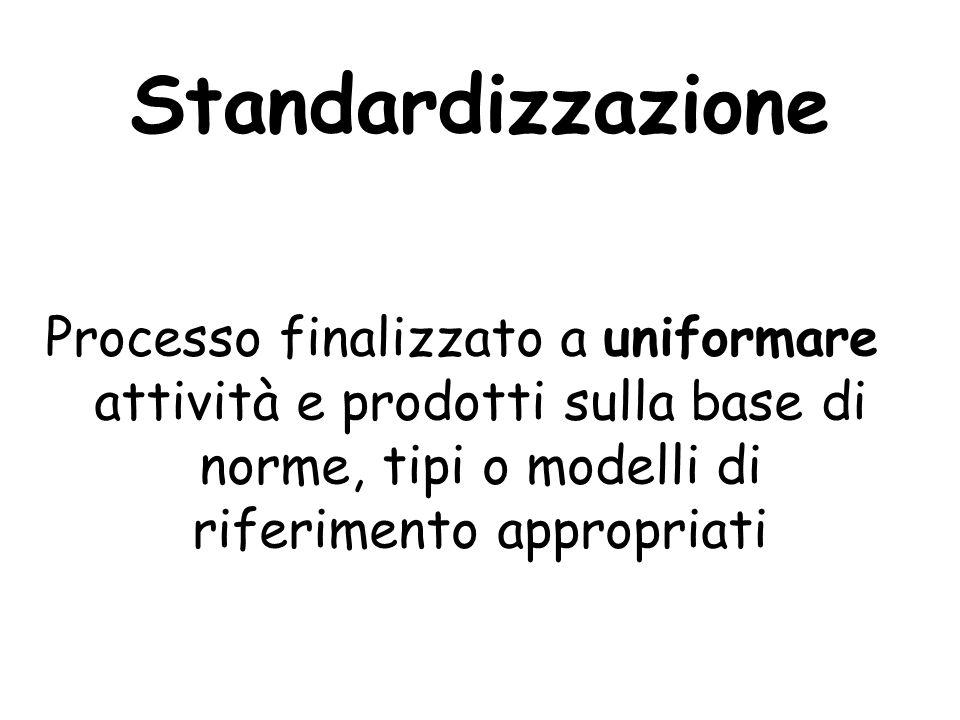 Standardizzazione Processo finalizzato a uniformare attività e prodotti sulla base di norme, tipi o modelli di riferimento appropriati