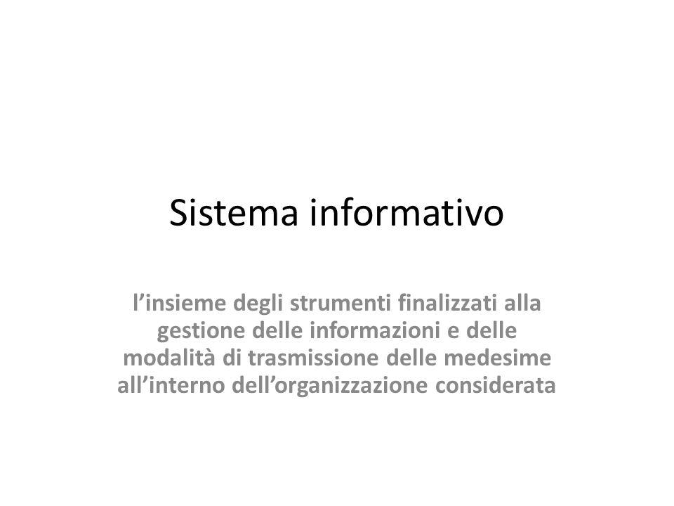 Sistema informativo linsieme degli strumenti finalizzati alla gestione delle informazioni e delle modalità di trasmissione delle medesime allinterno d