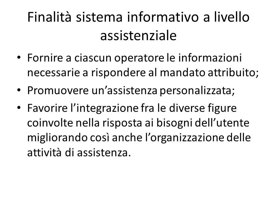 Finalità sistema informativo a livello assistenziale Fornire a ciascun operatore le informazioni necessarie a rispondere al mandato attribuito; Promuo