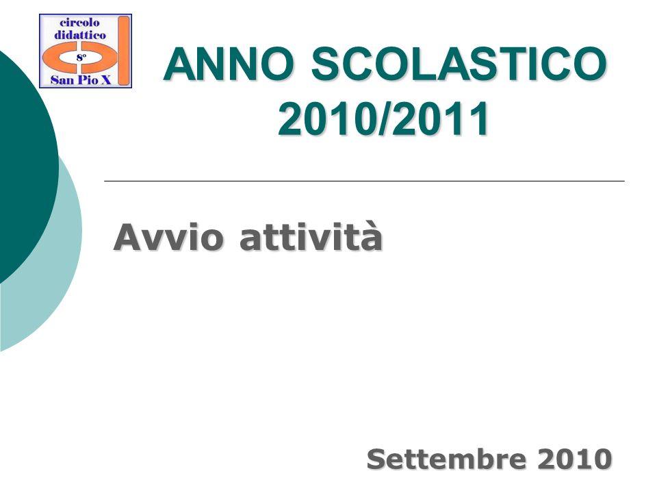 ANNO SCOLASTICO 2010/2011 Avvio attività Settembre 2010