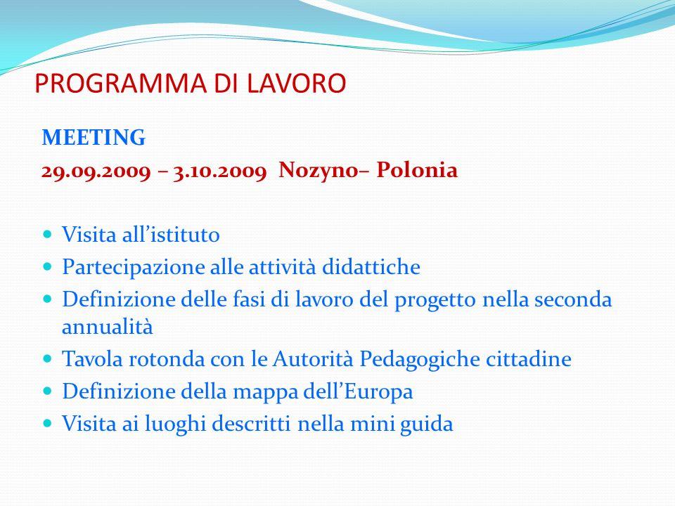 PROGRAMMA DI LAVORO MEETING 29.09.2009 – 3.10.2009 Nozyno– Polonia Visita allistituto Partecipazione alle attività didattiche Definizione delle fasi d