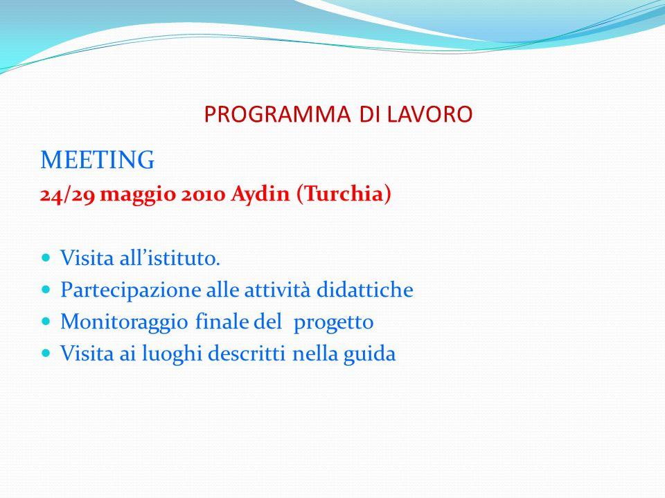 PROGRAMMA DI LAVORO MEETING 24/29 maggio 2010 Aydin (Turchia) Visita allistituto. Partecipazione alle attività didattiche Monitoraggio finale del prog