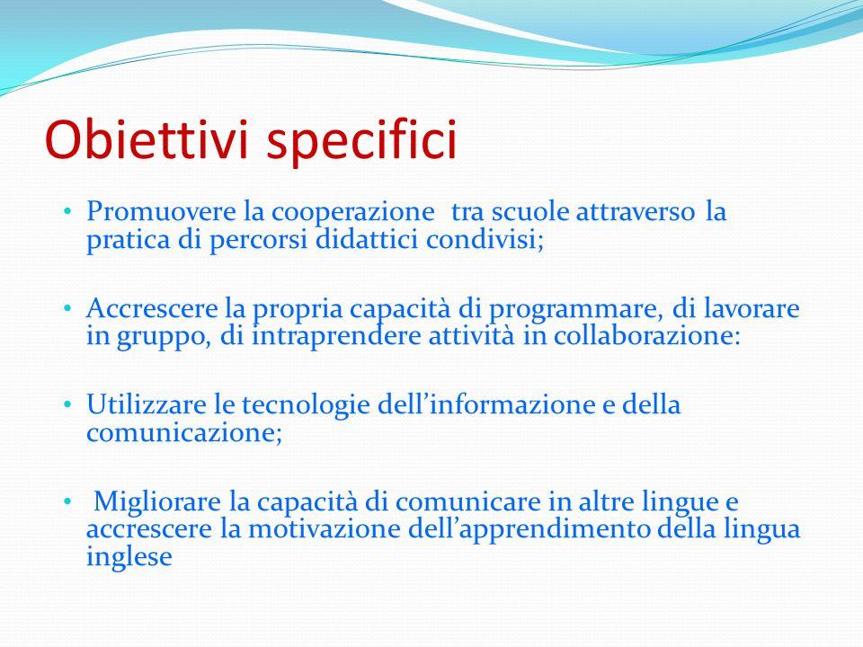 Obiettivi specifici Promuovere la cooperazione tra scuole attraverso la pratica di percorsi didattici condivisi; Accrescere la propria capacità di pro