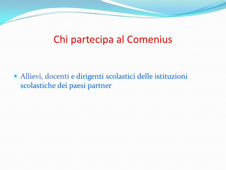 Chi partecipa al Comenius Allievi, docenti e dirigenti scolastici delle istituzioni scolastiche dei paesi partner
