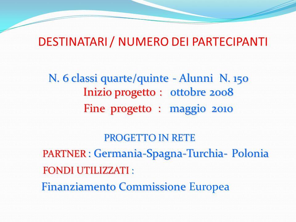 DESTINATARI / NUMERO DEI PARTECIPANTI N. 6 classi quarte/quinte - Alunni N. 150 Inizio progetto : ottobre 2008 Fine progetto : maggio 2010 Fine proget