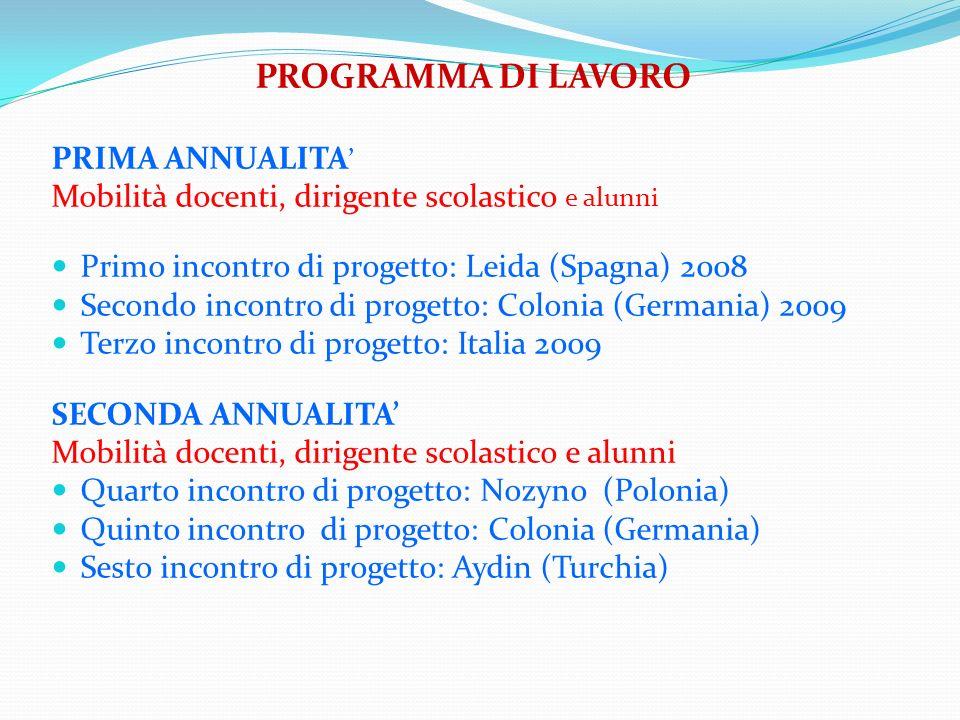 PROGRAMMA DI LAVORO PRIMA ANNUALITA Mobilità docenti, dirigente scolastico e alunni Primo incontro di progetto: Leida (Spagna) 2008 Secondo incontro d