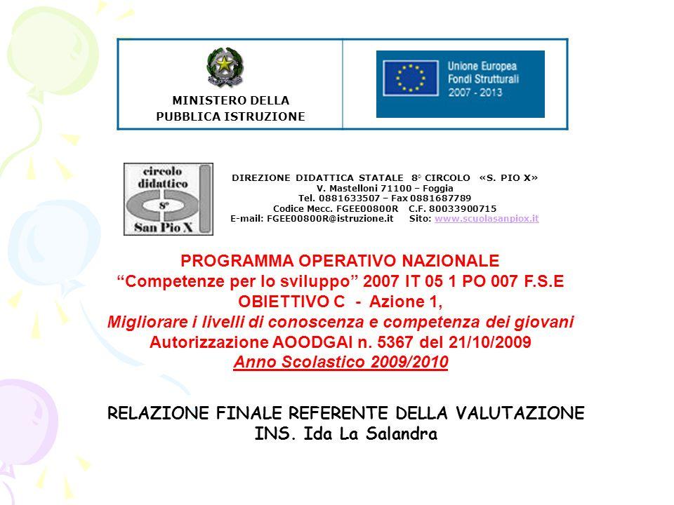 PROGRAMMA OPERATIVO NAZIONALE Competenze per lo sviluppo 2007 IT 05 1 PO 007 F.S.E OBIETTIVO C - Azione 1, Migliorare i livelli di conoscenza e competenza dei giovani Autorizzazione AOODGAI n.