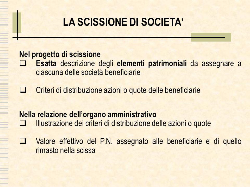 Nel progetto di scissione Esatta descrizione degli elementi patrimoniali da assegnare a ciascuna delle società beneficiarie Criteri di distribuzione a