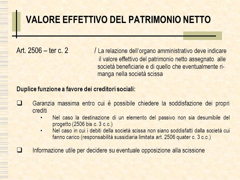 VALORE EFFETTIVO DEL PATRIMONIO NETTO Art. 2506 – ter c. 2 / La relazione dellorgano amministrativo deve indicare il valore effettivo del patrimonio n
