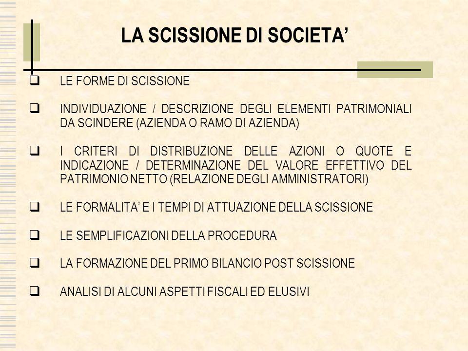 LA SCISSIONE DI SOCIETA LE FORME DI SCISSIONE INDIVIDUAZIONE / DESCRIZIONE DEGLI ELEMENTI PATRIMONIALI DA SCINDERE (AZIENDA O RAMO DI AZIENDA) I CRITERI DI DISTRIBUZIONE DELLE AZIONI O QUOTE E INDICAZIONE / DETERMINAZIONE DEL VALORE EFFETTIVO DEL PATRIMONIO NETTO (RELAZIONE DEGLI AMMINISTRATORI) LE FORMALITA E I TEMPI DI ATTUAZIONE DELLA SCISSIONE LE SEMPLIFICAZIONI DELLA PROCEDURA LA FORMAZIONE DEL PRIMO BILANCIO POST SCISSIONE ANALISI DI ALCUNI ASPETTI FISCALI ED ELUSIVI