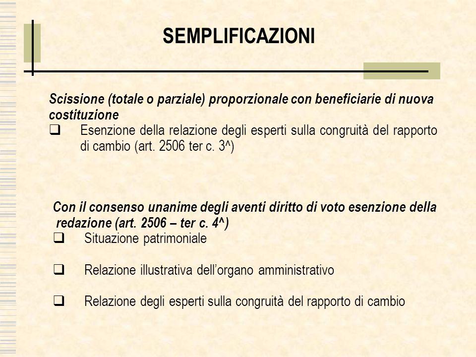 SEMPLIFICAZIONI Scissione (totale o parziale) proporzionale con beneficiarie di nuova costituzione Esenzione della relazione degli esperti sulla congruità del rapporto di cambio (art.