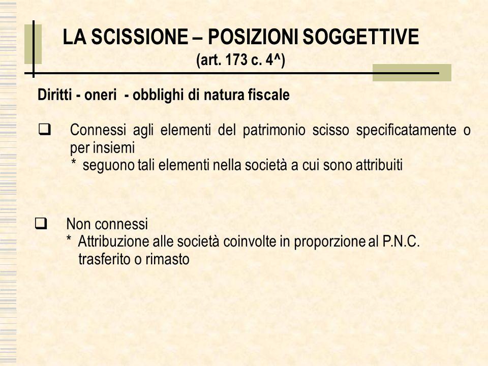 LA SCISSIONE – POSIZIONI SOGGETTIVE (art. 173 c. 4^) Diritti - oneri - obblighi di natura fiscale Connessi agli elementi del patrimonio scisso specifi