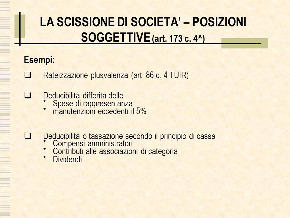 LA SCISSIONE DI SOCIETA – POSIZIONI SOGGETTIVE (art. 173 c. 4^) Esempi: Rateizzazione plusvalenza (art. 86 c. 4 TUIR) Deducibilità differita delle *Sp