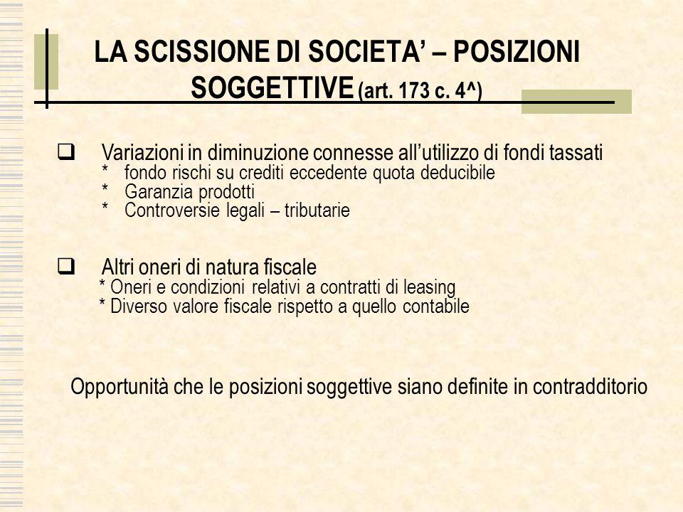 LA SCISSIONE DI SOCIETA – POSIZIONI SOGGETTIVE (art. 173 c. 4^) Variazioni in diminuzione connesse allutilizzo di fondi tassati *fondo rischi su credi