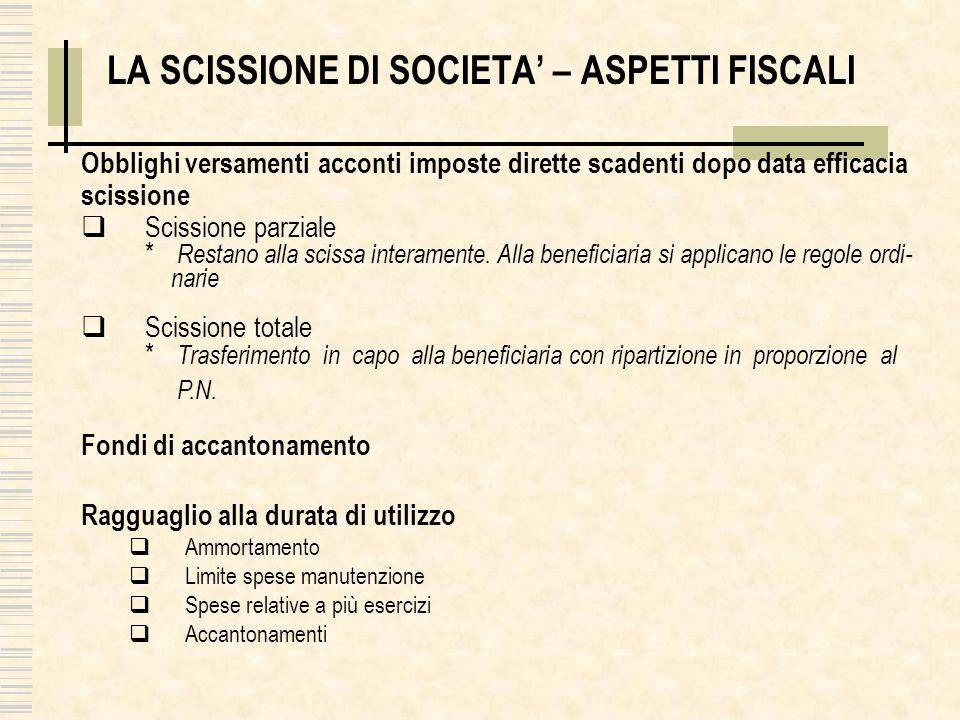 LA SCISSIONE DI SOCIETA – ASPETTI FISCALI Obblighi versamenti acconti imposte dirette scadenti dopo data efficacia scissione Scissione parziale * Rest